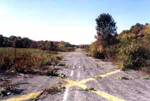 The abandoned East Hanover Airport runway as it appeared in 2001.